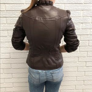 Vegan Leather Moto Jacket with Ruffle Details